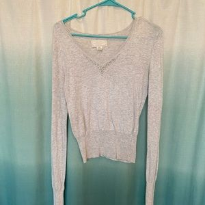 Abercrombie and Fitch silver grey beaded sweater